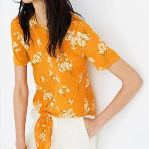 Madewell Yellow Floral Silk Front-Tie Blou…